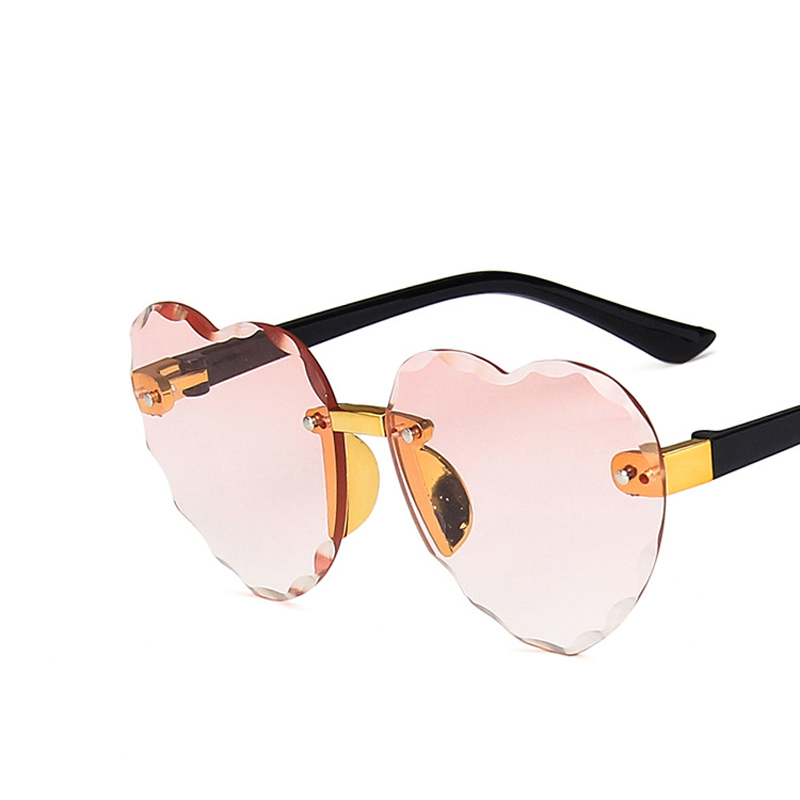 2020 Fashion Kids Rimless Sunglasses Girls Baby LOVE Heart Shape Sun Glasses UV400 Goggles Children Shades High Quality