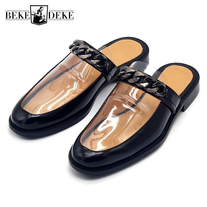 Runway Designer Mens Handmade Chain Transparent Slippers Cowhide Genuine Leather Slip On Sandals Flats Casual Mules Slides Shoes