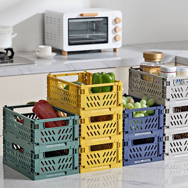 Folding Collapsible Plastic Storage Crate Box Stackable Home Kitchen Warehouse Storage Baskets Box S L