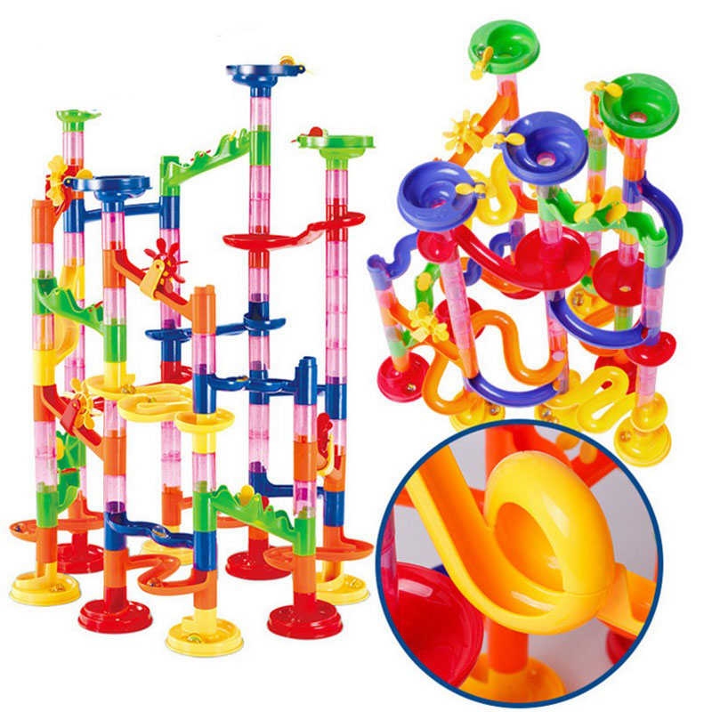 29/80/105/109 pcs Building Blocks DIY Marble Run Toys Maze Balls Track Construction Toys Educational Pipe Game For Children