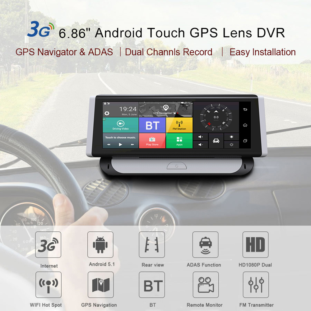 6.86 Inch 3G Android Car DVR 1080P GPS Navigation ADAS Full HD Camcorder BT WiFi Dual Lens Truck Browser GPS navigator image