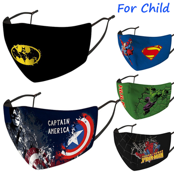 For Kids Size Face Mask Superhero Spider Man Iron Man Batman The Hulk Superman Captain of America Dust Protection Masks Filters image