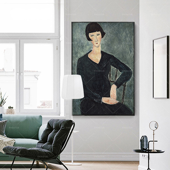 1 Pieces Famous Artworks By Picasso Classic Amedeo Modigliani HD Canvas Paintings For Living Room Home Decor Pictures Posters image