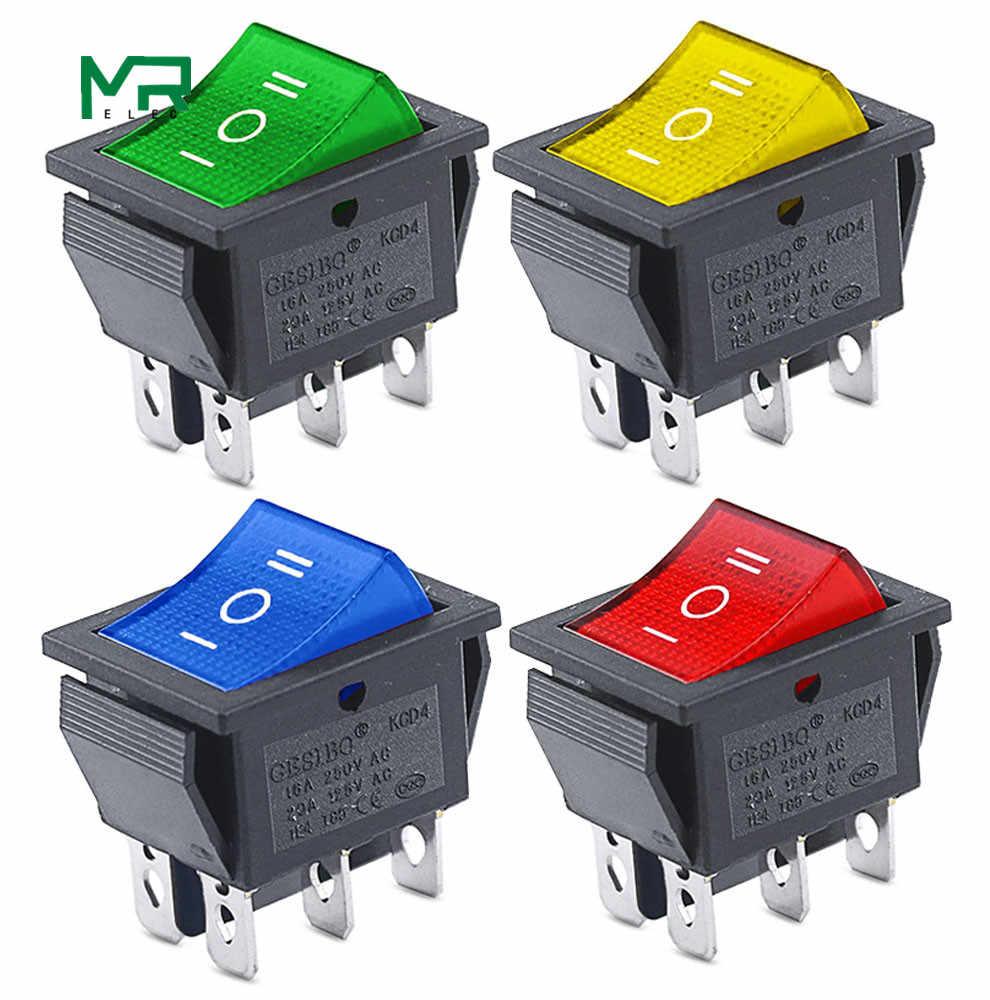 KCD4 1 sztuk przełącznik kołyskowy wyłącznik zasilania ON-OFF-ON 3 pozycja 6 sprzęt elektryczny z włącznikiem światła 16A 250VAC/20A 125VA