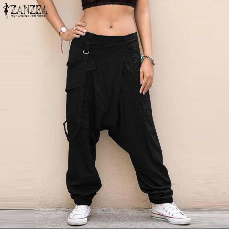 ZANZEA Women Drop Crotch Pants Casual Elastic Waist Harem Pants Solid Wide Leg Trousers Female Loose Pantalon Plus Size Pants