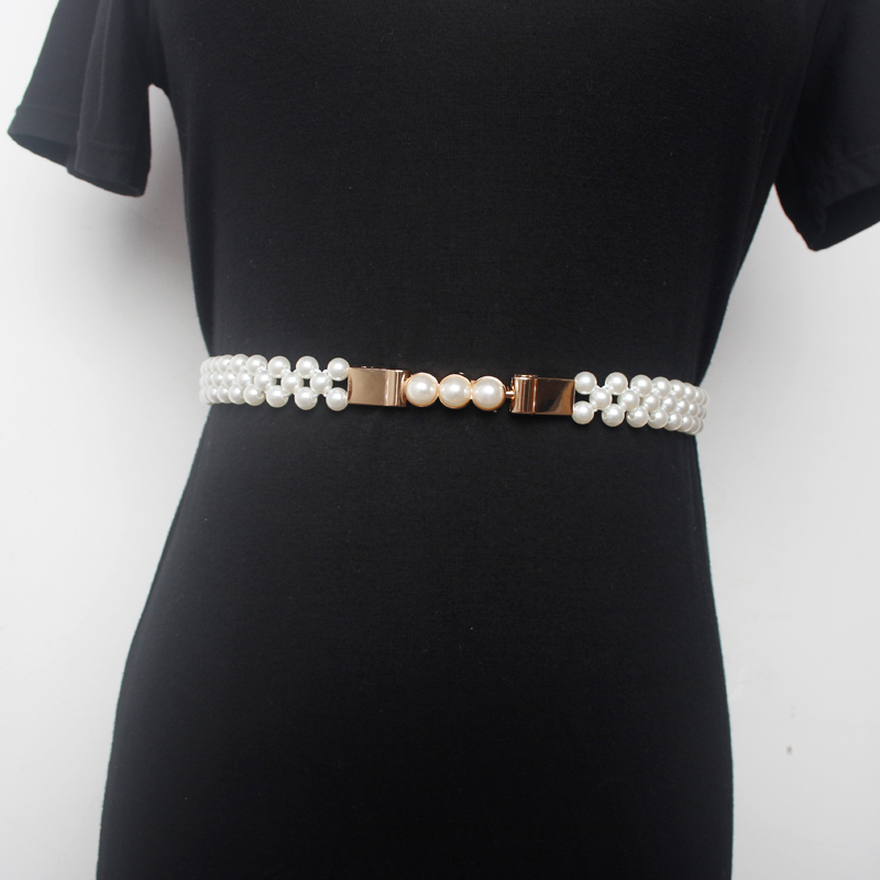 2020 Spring New Design Waistband Trendy High Fashion Pearl Belts For Women All-match Solid Belt Stylish Corset Belt Female ZK832