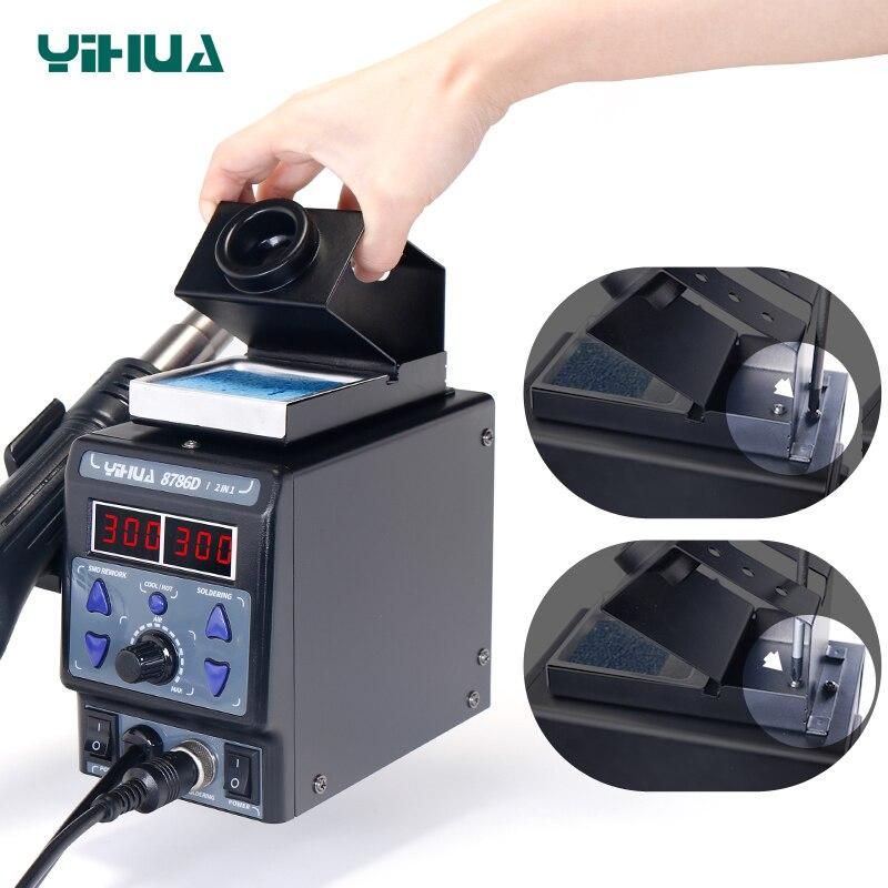 YIHUA 8786D паяльная станция с цифровым дисплеем, пистолет, сварка тепловой пушкой, паяльная станция BGA, паяльная станция