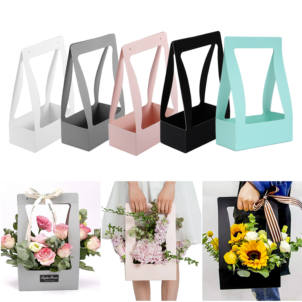 Portable Waterproof Paper Foldable Flower Box For Living Room Wedding Gift Box Wrapping Gift Case Party Festival Flower Shop Box image