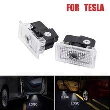DERI 2PCs LED Led Car Welcome Lamp Door Light Signal 3D Projector logo Gost Shadow for Tesla Model S X 12V