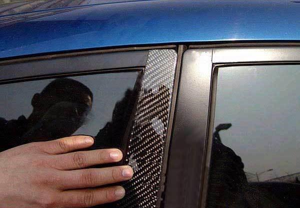 REAL CARBON FIBER DOOR PILLAR PANEL for Mazda 2 4door sedan 2008UP T042B 2