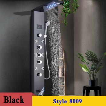 LED Shower Panel Stainless Steel Wall Mount Shower Column Panel Tower System LED Rain Waterfall Shower Jets Tap Hand Shower Tub 15