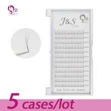 Jeyelash pré feito fãs extensões de cílios de volume 3d, calor ligado cílios, 5 bandejas/lote j & s falso vison cílios