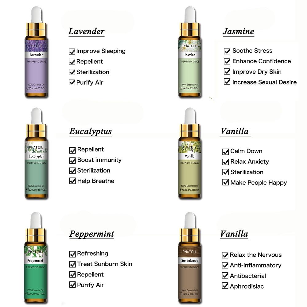 10ml Lavender Eucalyptus Essential Oil Diffuser Pure Natural Essential Oils Rose Jasmine Vanilla Mint Tea Tree Oil Shea Butter-3