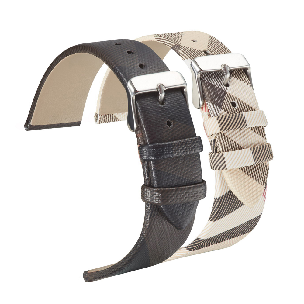 Leather Strap For Burberry Watch Plaid Watch Band Strap Leather For Men And Women Black Checked Wrist Watch Strap Classical