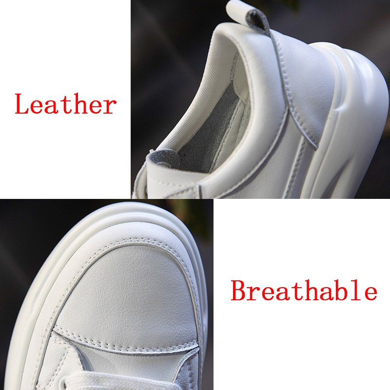 Big Size Women Sneakers Autumn Leather Light White Sneaker Female Platform Vulcanized Shoes Spring Casual Breathable Sports Shoe 4