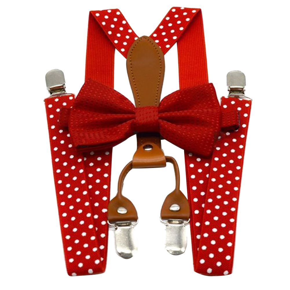 Navy Red Braces 4 Clip For Trousers Wedding Party Elastic Clothes Accessories Alloy Button Polka Dot Adult Suspender Bow Tie