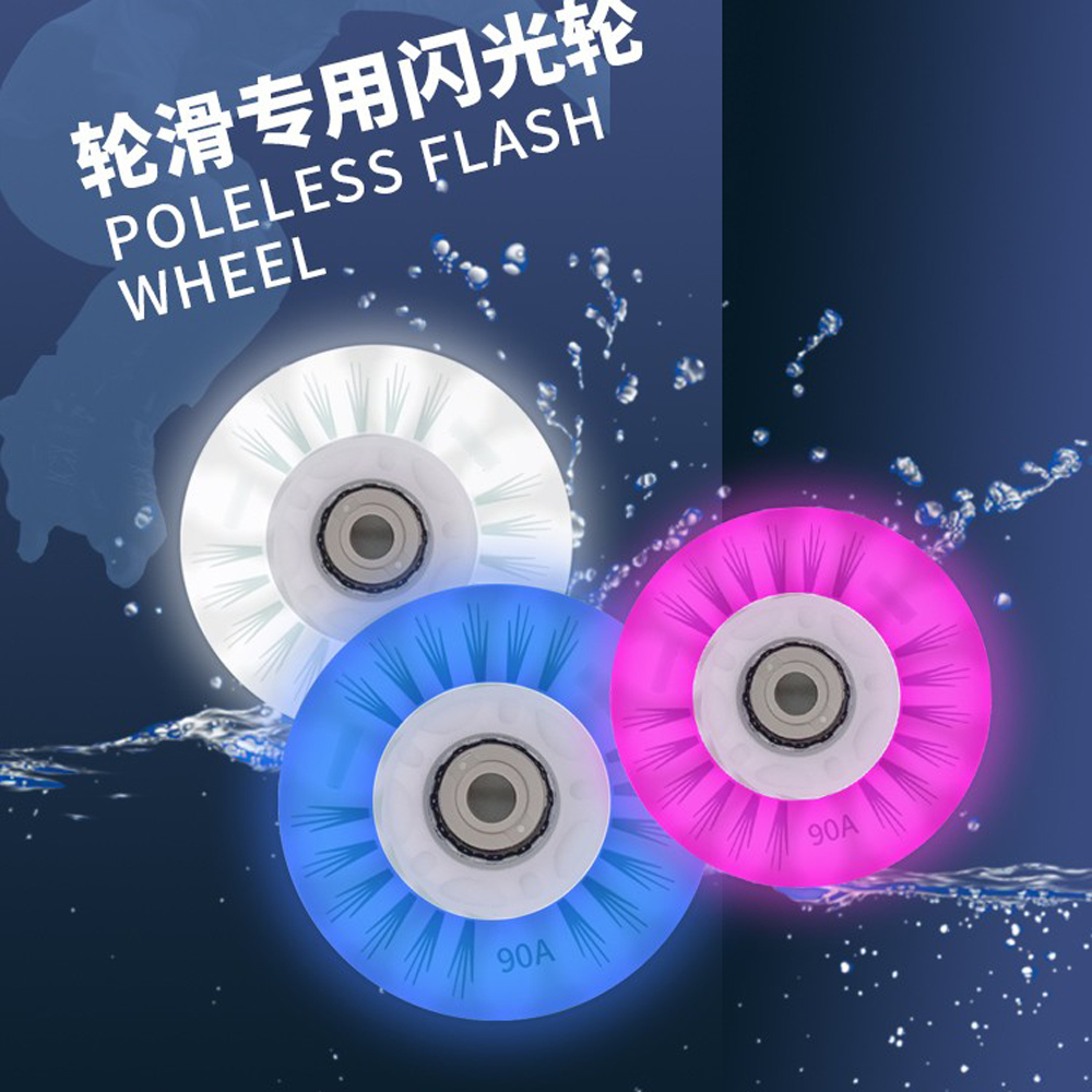 80mm 90A Inline Roller Skate Wheels 8/4pcs LED Sliding Skating Flashing Wheel Rollers Durable Luminous Rollerblade Replacement