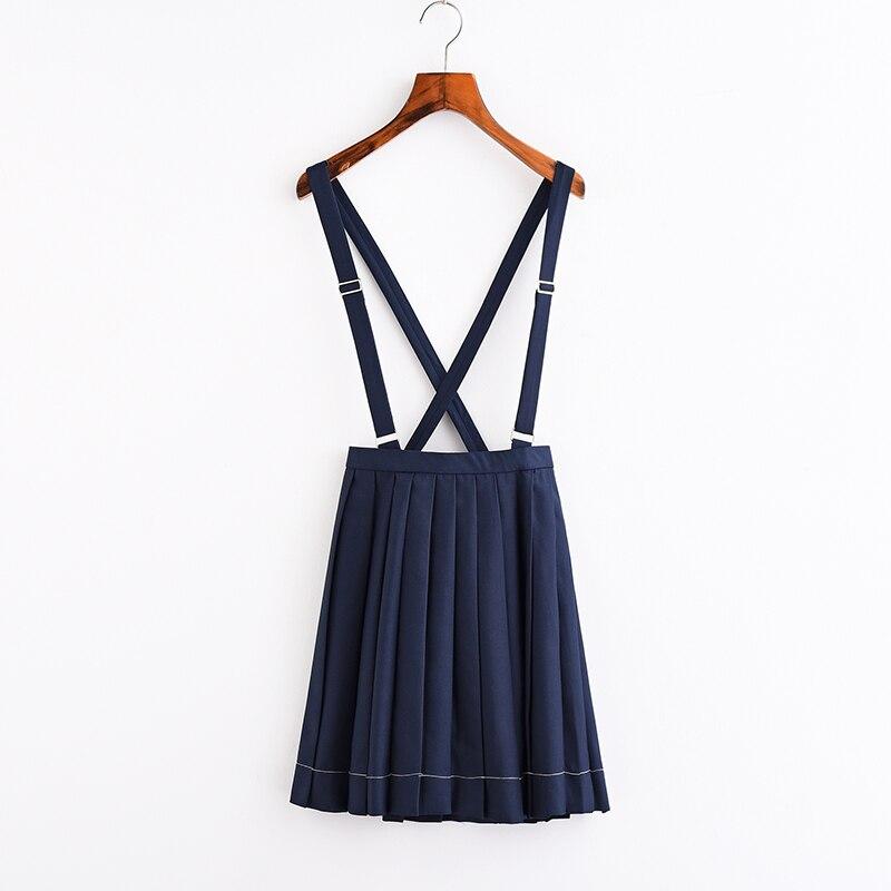 Women JK  Sailor High School Uniform Student Girl Harajuku Preppy Style Cross Brace Strap Pleated High Waist  A-line Skirt