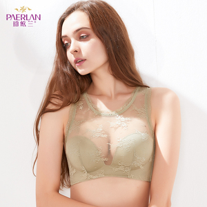Image 2 - PAERLAN Floral Lace Push Up Bra Beautiful Back Sexy Wire Free Half 1/2 Cup Women Underwear Back Closure Three Hook and eye