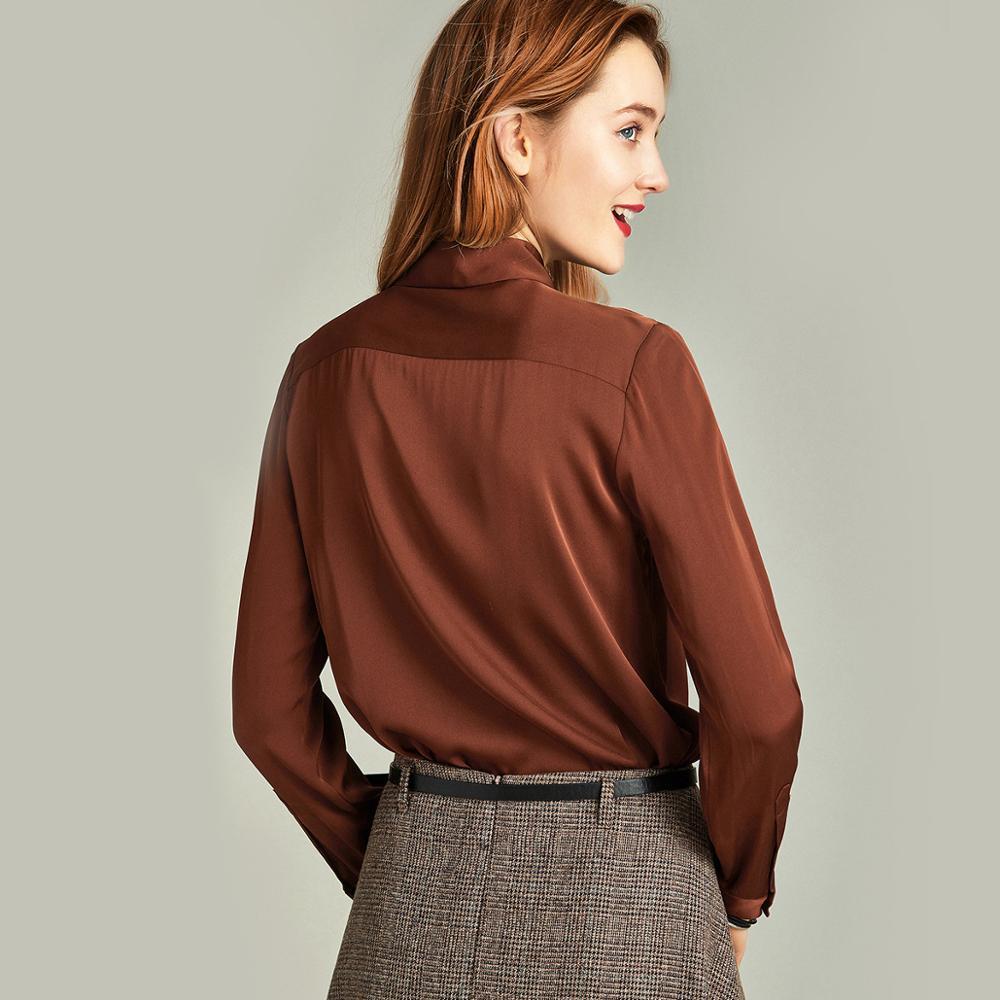 HAVVA printemps automne femmes couleur Pure Windsor col manches longues chemise pour simple boutonnage 100% Polyester Blouse C4251 - 2