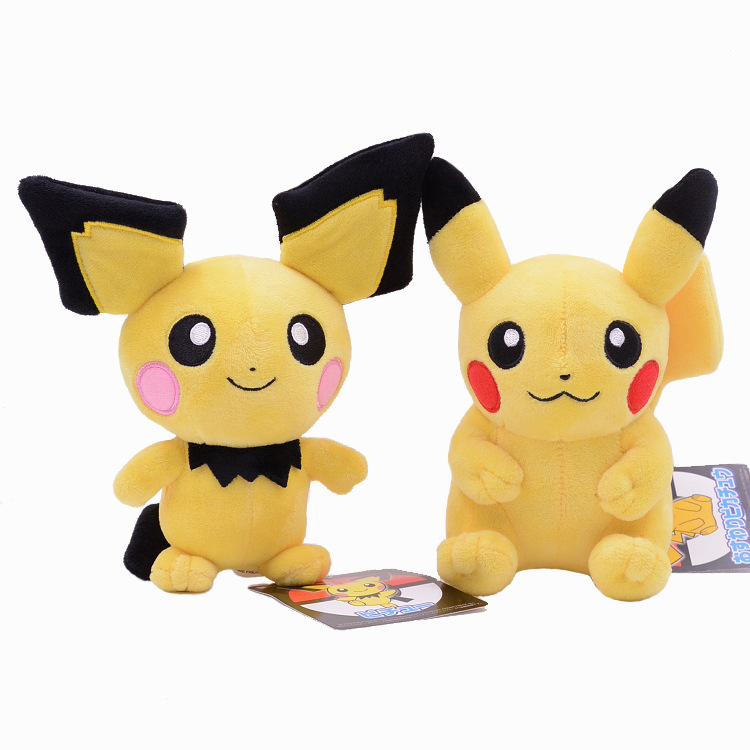 Takara Tomy Pokemon Pichu Plush Lovely Pikachu Juvenile Version Evolution Toy Hobby Collection Doll Kawaii Gift for Girl