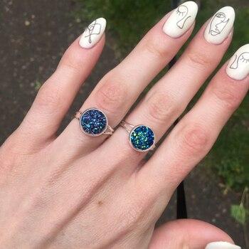 Women Adjustable Druzy Quartz Rings Fashion Wedding Engagement Multiple Silver Couple Rhinestone Opening Finger Ring Rose Gold 5