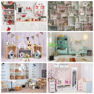 Laeacco Gray Kitchen Room Red Candle Christmas Party Festivals Decor Interior Photographic Background Photo Backdrop Photostudio
