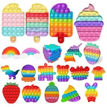 Rainbow zabawki typu Fidget Push Bubble Sensory Squishy Stress Reliever autyzm potrzebuje antystresowych zabawek dla dorosłych dzieci latających tanie i dobre opinie CN (pochodzenie) MATERNITY W wieku 0-6m 7-12m 13-24m 25-36m 4-6y 7-12y 12 + y color shape soft figed toys toys for adult
