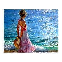 5d diy Алмазная картина девушка задняя пляжная шляпа вышивка
