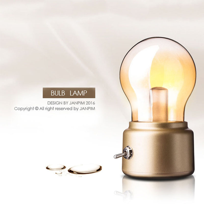 Vintage Bulb LED Night Lamp 5V USB Rechargeable Creative Champion Retro Metal Lever Switch Decoration Art Night Bulb Light Lamp