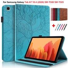 Gravado para samsung galaxy tab a7 10.4 caso 2020 SM-T500 SM-T505 tablet carteira capa 3d árvore funda para galaxy tab a7 capa t500