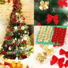 12 шт., золотые, серебряные, красные рождественские банты, Рождественское украшение, украшение на елку, бантики, безделушки, Noel, новогодние, рождественские украшения, принадлежности