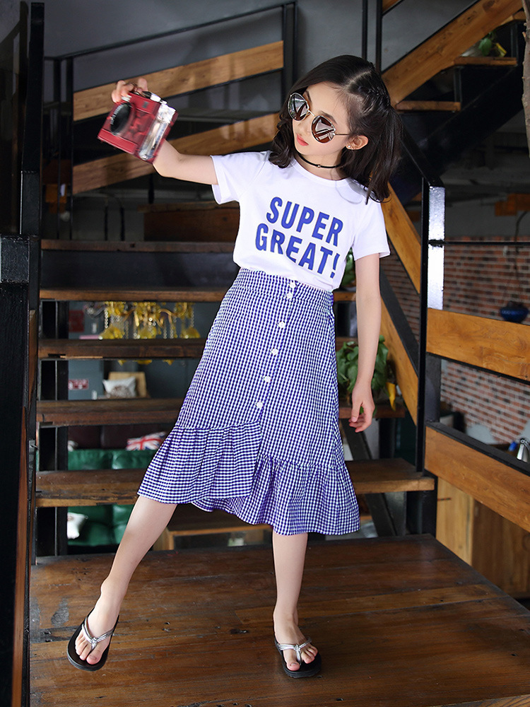 Filles filles 2019 vêtements d'été nouveau Style enfants à manches courtes ensemble de vêtements costume jupe grand garçon style coréen Style occidental décontracté - 3