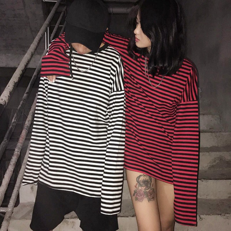 2019 New Black White Red Striped Long Sleeve Korean T Shirt Women Men Loose T-shirt Female Fashion Korean Style Couple Tee Shirt