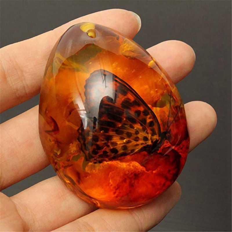 Fashion Alami Serangga Amber Batu Permata Ornamen Orisinalitas Kalajengking Butterfly Spider Crab Dekorasi dengan Lubang Liontin Diy C
