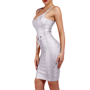 Image 2 - Ocstrade New 2019 Autumn Winter Women Tie Waist Metallic Sexy Bandage Dress Silver Bandage Dress Bodycon Club Party Dress