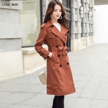 Korean Designer Double Breasted Trench Coat Women Autumn Epaulet Sashes Windbreaker Long Coats Female Knee Length Trenchcoat