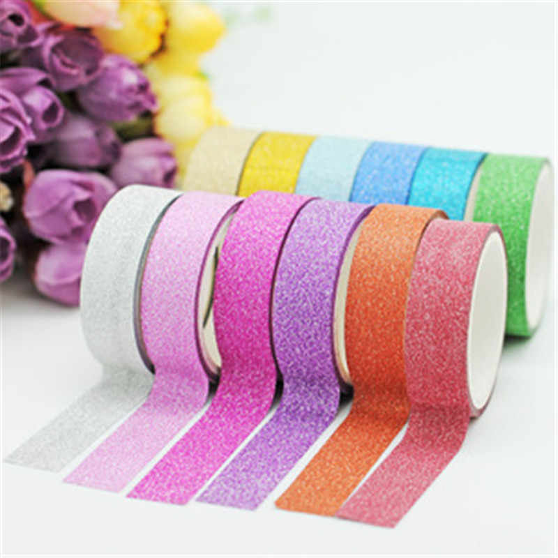 5M DIY Self-adhesive Glitter Washi Paper Scrapbooking Tape Stickers Wedding Birthday Festival Decorations Craft Paper