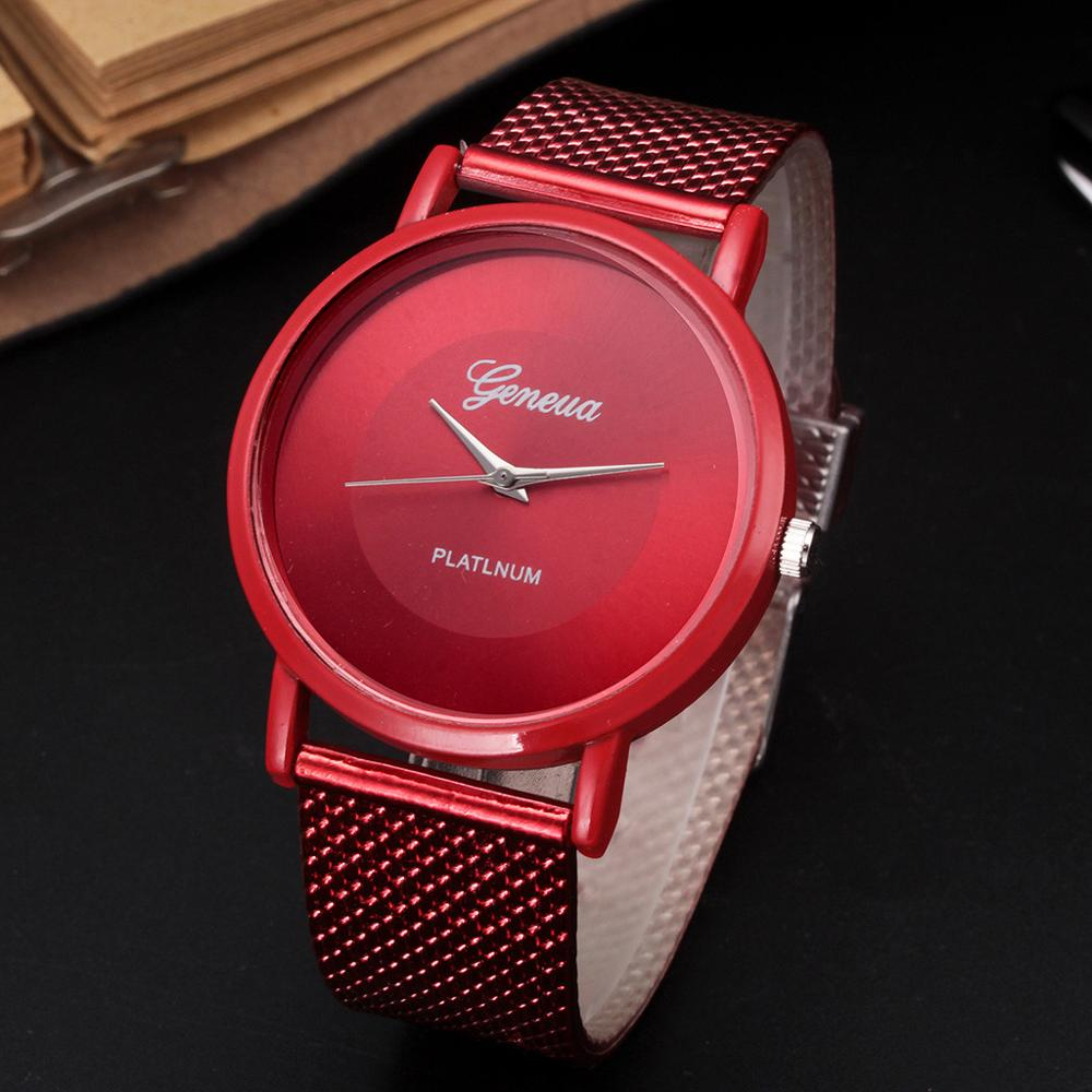 RED Business Watch 2019 Wrist Watch Men Simple Style Mesh Belt Men Women Unisex Quartz Watches Relogio Masculino