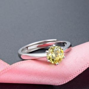 Image 5 - JRSIAL 925 סטרלינג תכשיטי כסף טבעת קוריאנית אופנה קטן טרי אישה טבעת קלאסי סיטרין Resizable טבעת