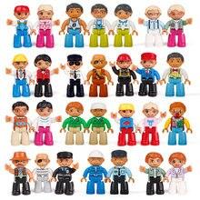 Мини-фигурки Duplo, фигурки семьи, полиция, Dady, мама, дедушка, большой размер, строительные блоки, совместимые с Duplo фигурки для детей, игрушки
