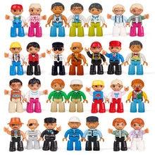 Profissão figuras família polícia dady mamãe vovô tamanho grande blocos de construção brinquedo figura tijolo para crianças brinquedo diy