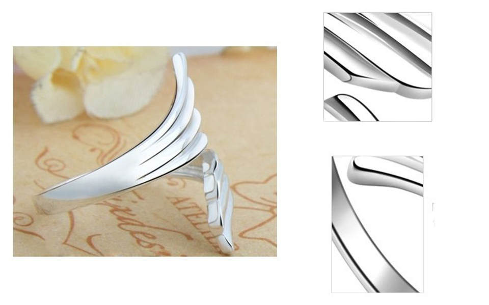 c PISSENLIT Simple Adjustable Silver Ring Wing Ring Women Jewelry New Korean Trendy Wing Wedding Rings For Women Accessories Gifts