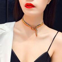 2020 Модные Радуга Стразы ожерелье для женщин с украшением в
