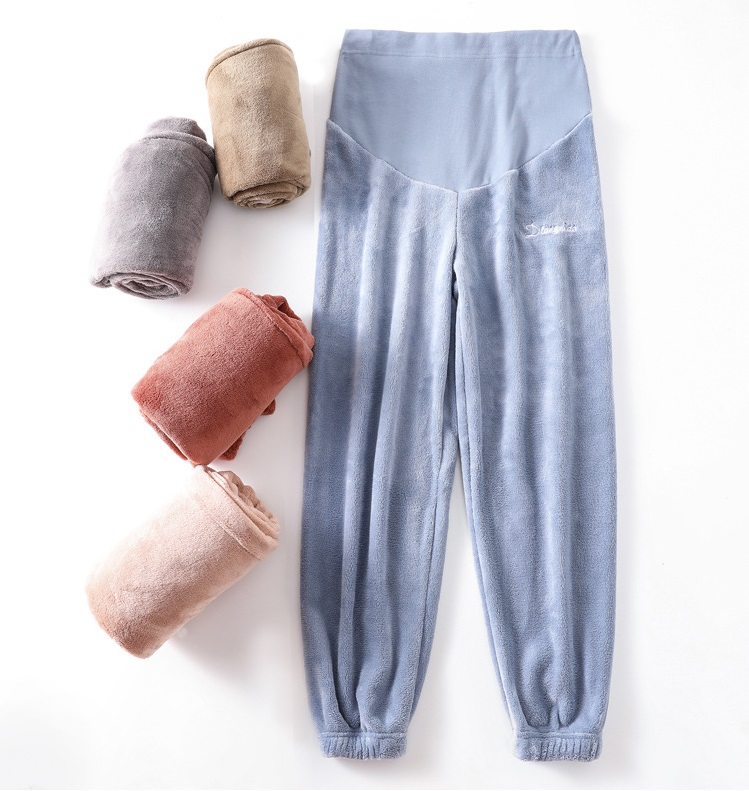 Pregnant Home Pants Fairy Warm Pants Autumn And Winter Coral Fleece Wear Pregnant Women Pants Sleep Loose Warm Pants Lazy Pants