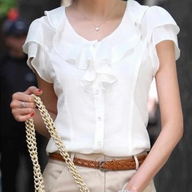 5XL Plus Size New Summer Women Blusas Fashion Short Sleeve Ruffles Chiffon Blouse Solid White Tops Blusas Casual Summer Blouses