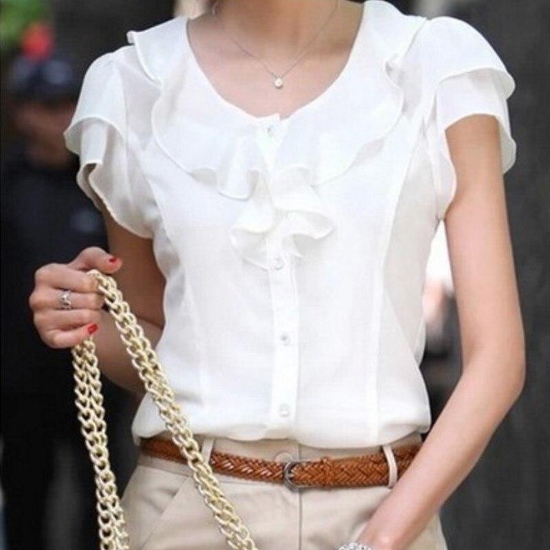 5XL Plus Size New Summer Women Blusas Fashion Short Sleeve Ruffles Chiffon Blouse Solid White Tops Blusas Casual Summer Blouses