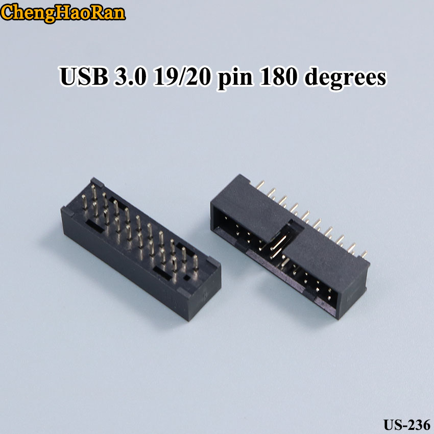 ChengHaoRan 2pcs/lot Simple Horn Seat Copper Pin Straight Pin ISP Download Interface USB 3.0 19/20 Pin 180 Degrees