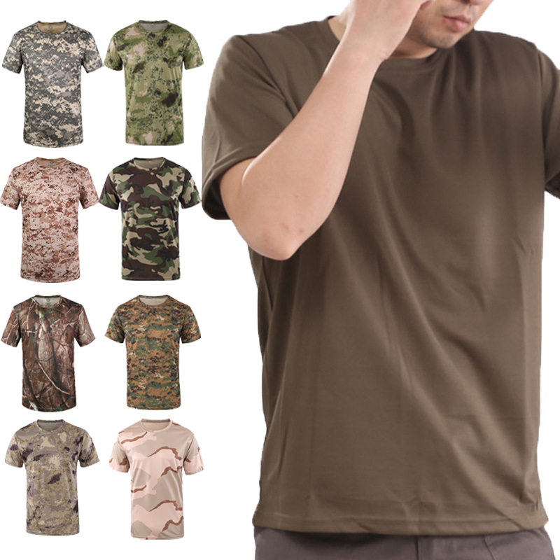 New Army Outdoor Hunting CamouflageT-shirt Men Breathable Army Tactical Combat T-Shirt Military Dry Sport Camo Hunting Camp Tees