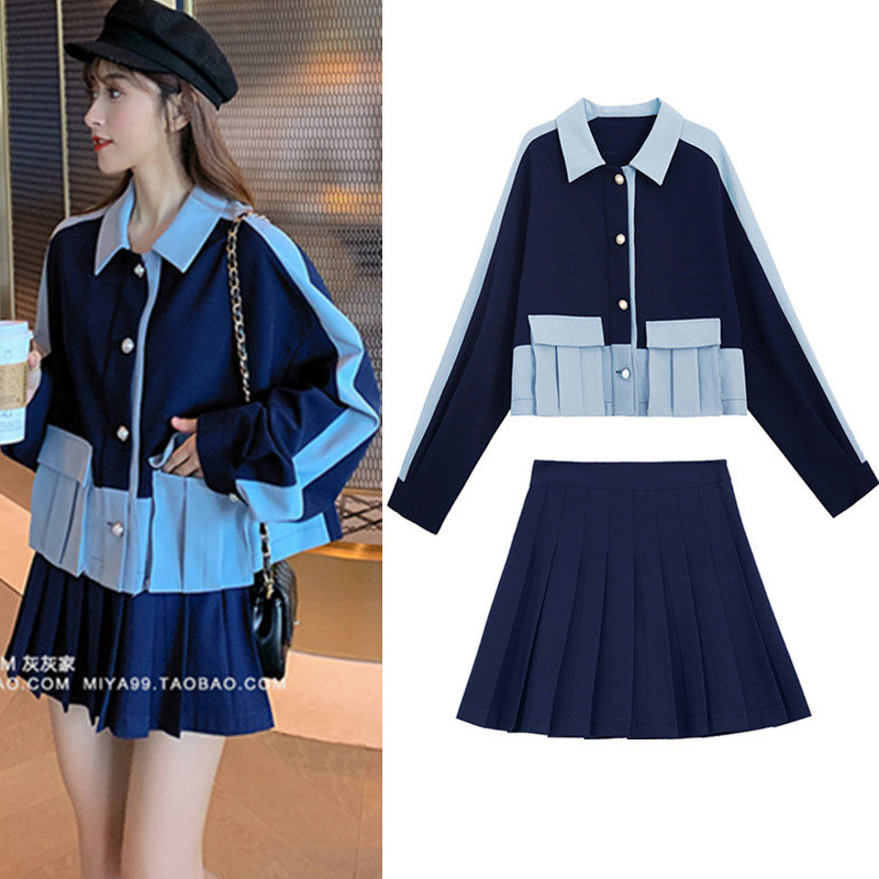 Ladies Suit Women Suits Clothing Sets Casual Oversized Spliced Blazer Pleated Skirts Set Formal Terno Feminino Skirt Suits CC393